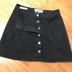 Hot Kiss Skirts - Black high-waist button down skirt